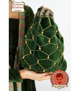 Bolsa de noble de terciopelo verde