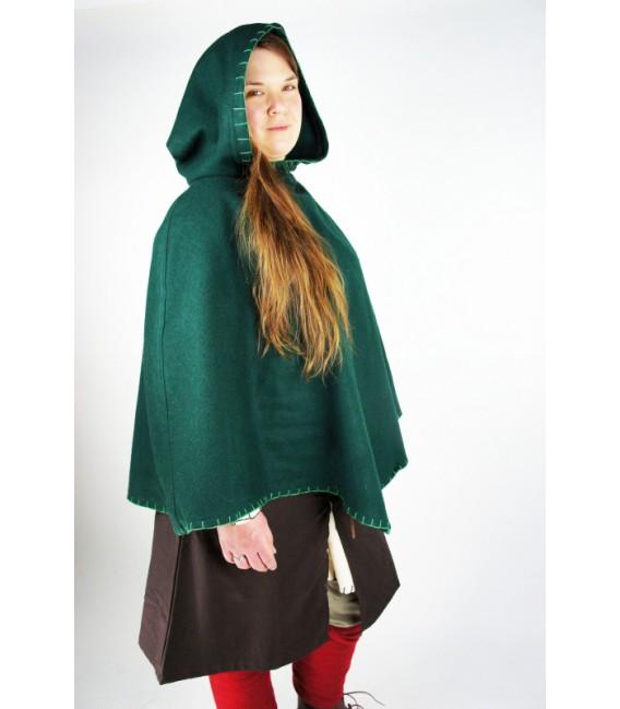 Capelina bordada con capucha Egill - Verde