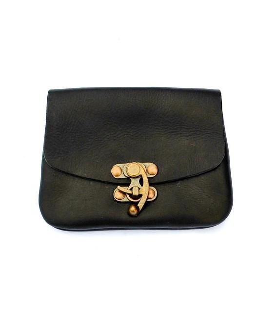 Bolsa Cuero Clásico - con cierre de gancho