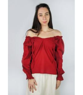 Blusa de algodón con volantes Eva