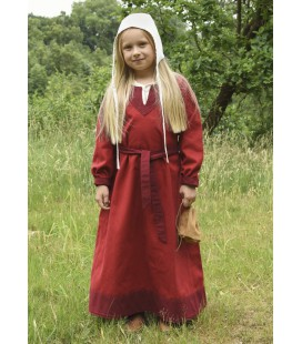 Solveig vestido vikingo para niña - Rojo/Burdeos