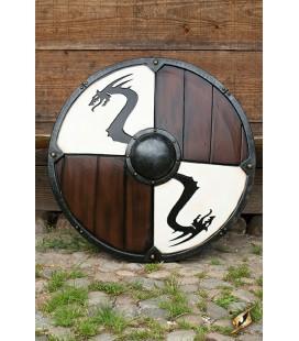 Escudo Vikingo Serpiente de Midgard Blanco