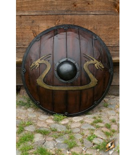 Escudo Vikingo Serpiente de Midgard Madera