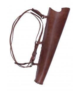 Carcaj de cuero marrón