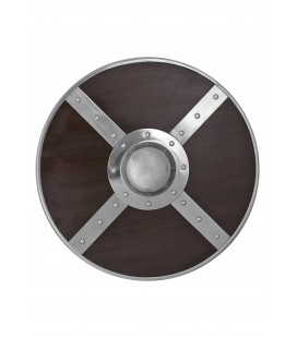 Wooden round shield with steel fittings