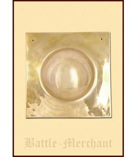 Roman shieldboss, 4-square, 1.6 mm brass, 6 cm deep bulge!!!