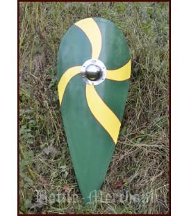 Norman Kite shield wooden, green-yellow
