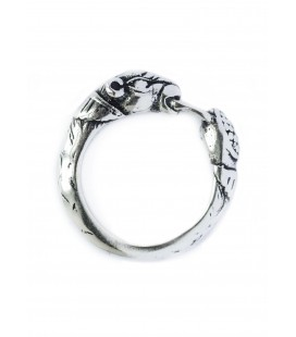 Anillo vikingo con cabeza de perro, plata