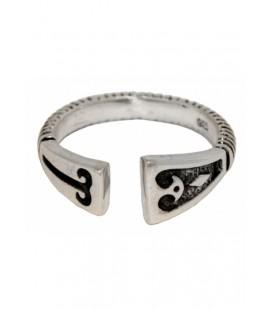 Anillo vikingo de plata con patrón de diamantes