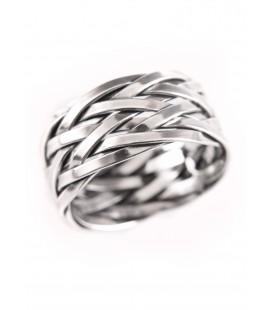 Anillo Vikingo Hedin con patrón trenzado, plata