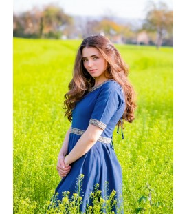 Short Sleeved Dress with Bordure Ennlin - Cotton
