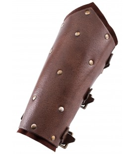 Brazos de cuero con capa inferior de ante, remaches y hebillas, par, varios colores